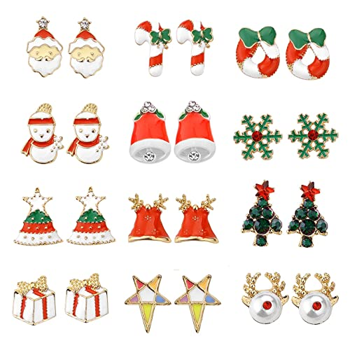 Cute Christmas Gifts For Teenage Girls.Women Christmas Earring Stud 12 Pairs Hypoallergenic