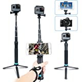 AFAITH Aluminum Alloy Extendable Handheld Selfie Stick Telescoping Pole With Adjustable Wrist Strap And Flexible Monopod Tripod Mount Stand for GoPro Hero 6 5 4 3 2 - GP073