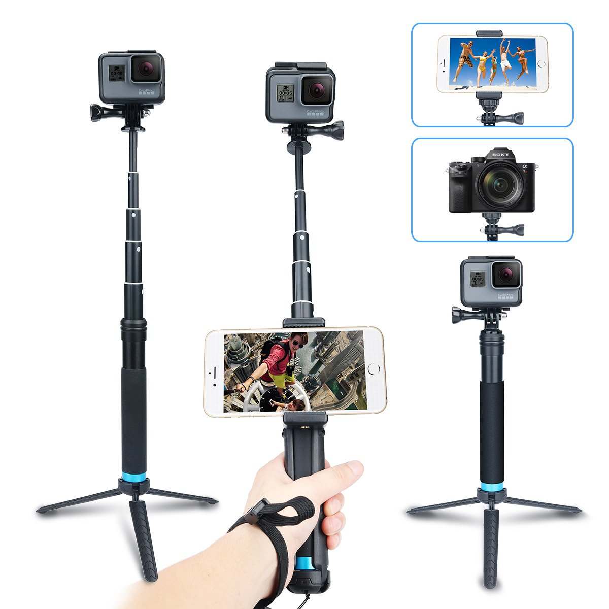 AFAITH Portable Foldable Extendable Aluminum Alloy Selfie Stick + Detachable Tripod Mount+ Phone Clip ,for iPhone 7 Plus 7 6s Samsung Galaxy S7 S8, Gopros, DSLR, Cameras GP073