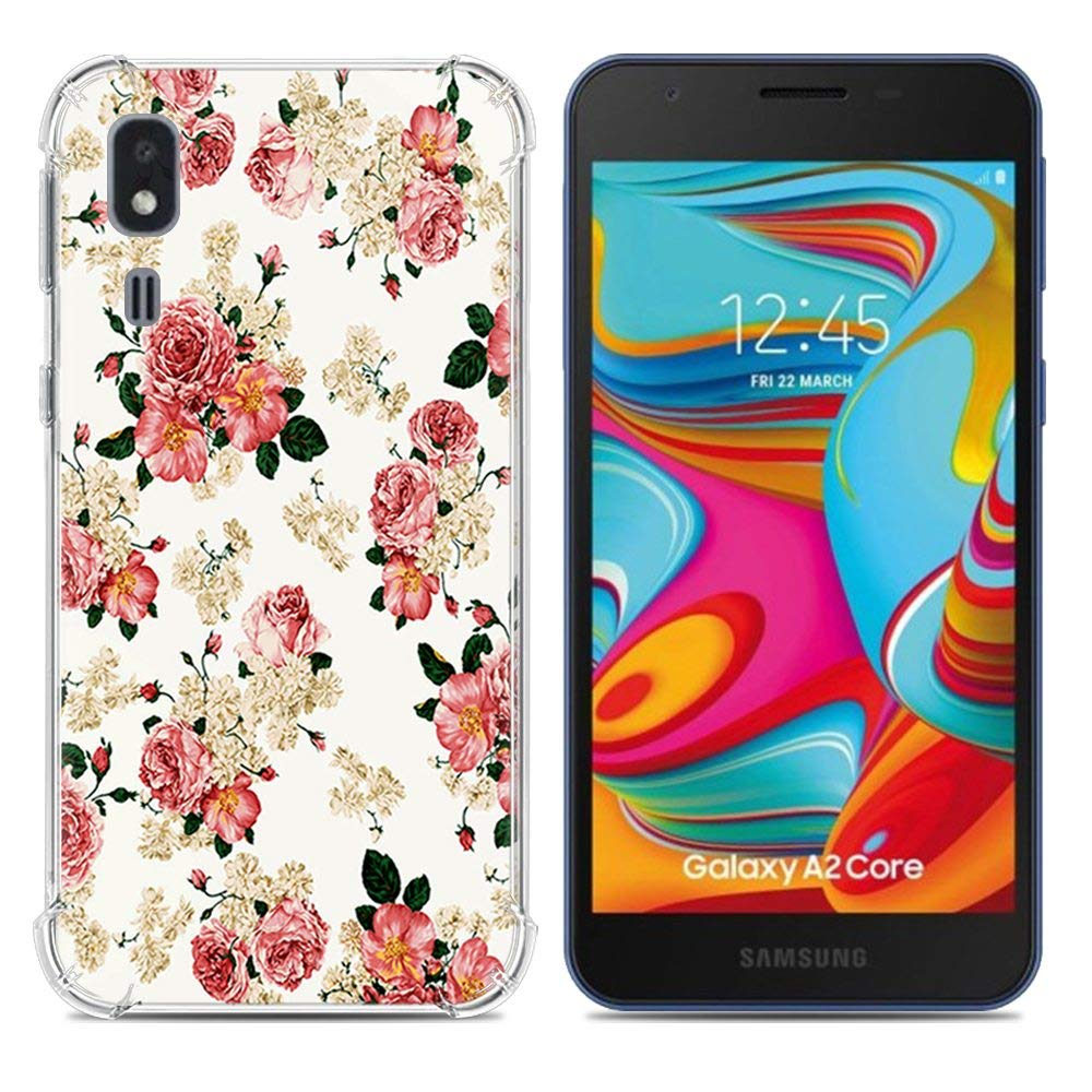 Aksuo for Samsung Galaxy A2 Core Case Women Girls boy Men Printed Transparent Clear Design Plastic Case with TPU Bumper Protective Cover Banana