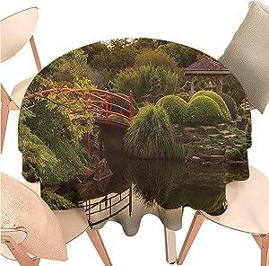 Iuvolux Decorative Round Tablecloth Japanese,Garden Zen Peace,Indoor Outdoor Spillproof Tablecloth Table Cover for Spring Summer Patio Garden Tabletop Decor Diameter 54 inch