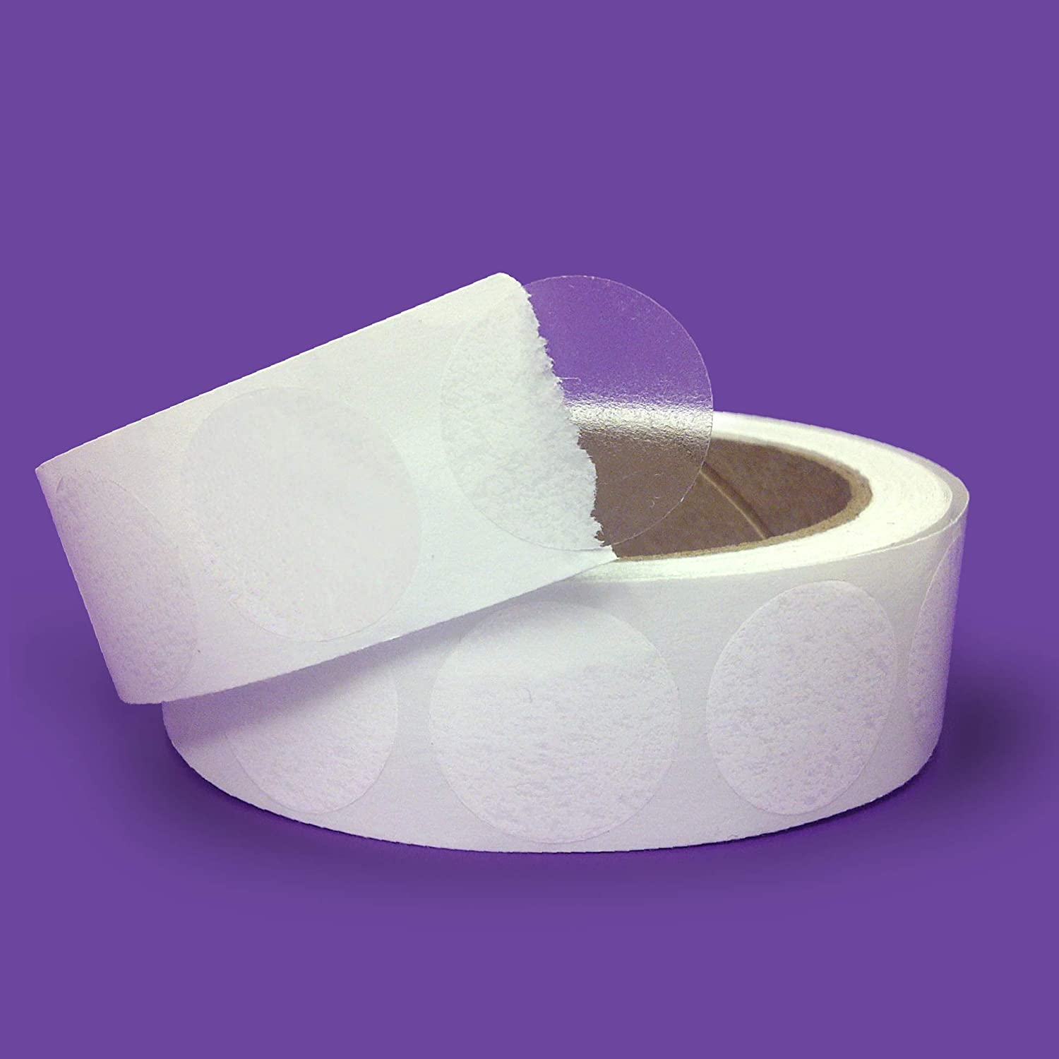 "Super Gloss Clear Retail Package/Envelope Seals 1"" Inch Round Circle Wafer Seal Labels 1,000 Per Roll"