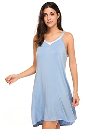 ad2a4ade28 Women Sleepwear Sexy Nightwear V Neck Chemise Nightgown Cotton Sleep Dress  (Small