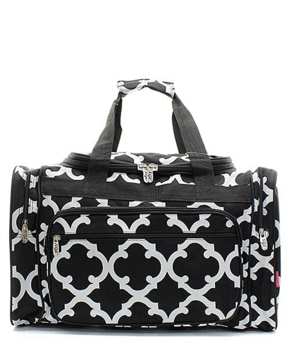 Handbag Inc Geometric Print Canvas Lightweight 20'' Duffel Overnight Bag Black