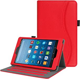 Fintie Case for Amazon Fire HD 8 Tablet (7th and 8th Generation Tablets, 2017 and 2018 Releases) - [Multi-Angle Viewing] Folio Stand Cover with Pocket Auto Wake/Sleep, Red