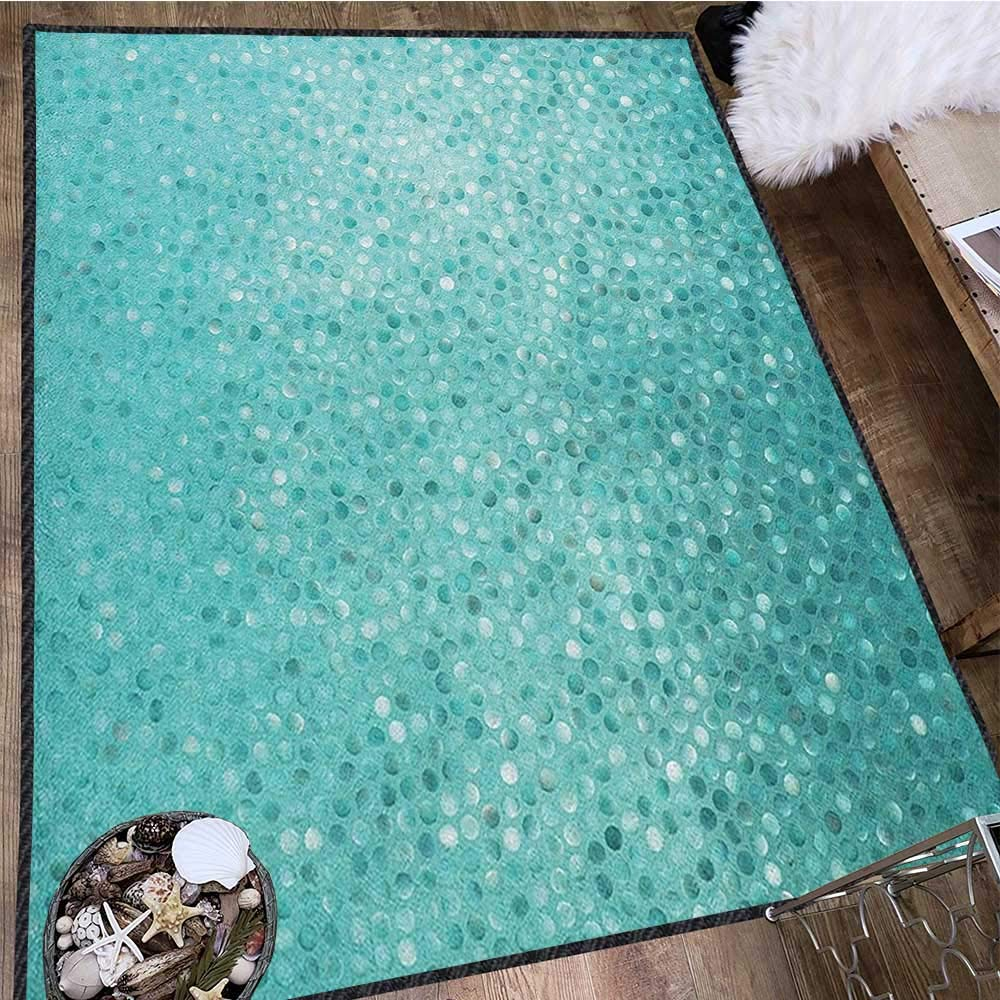 Turquoise Modern Area Rug with Non-Skid,Small Dot Mosaic Tiles Shape Simple Classical Creative Artful Design Anti-Static,Water-Repellent Teal Turquoise Seafoam 63''x94'' by Philip C. Williams