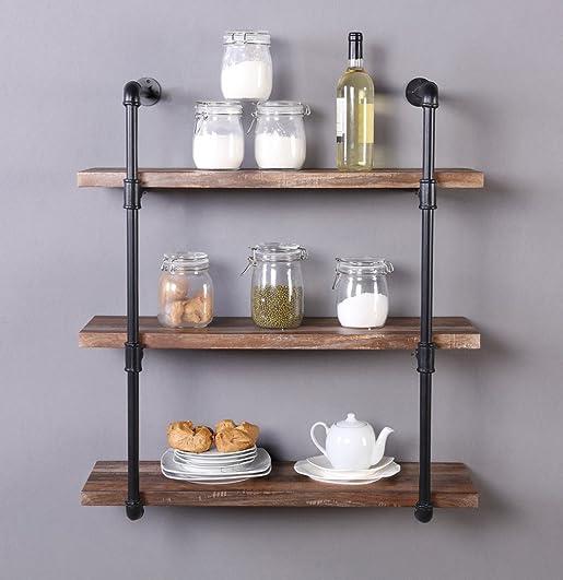 Homissue 31.5-Inch Industrial Pipe Shelf, 3-Shelf Metal Bookcases Furniture, Retro Brown