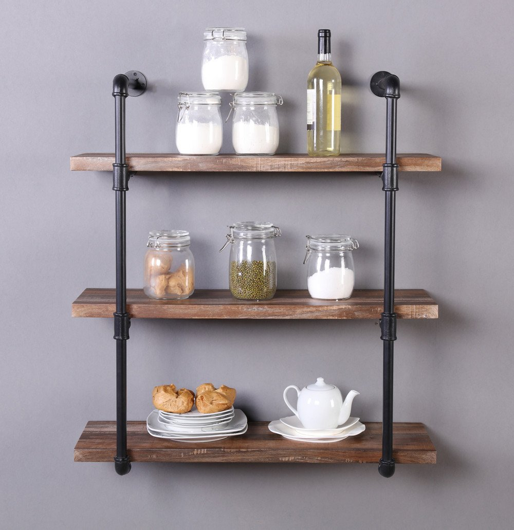 Homissue 31.5-Inch Industrial Pipe Shelf, 3-Shelf Metal Bookcases Furniture, Retro Brown