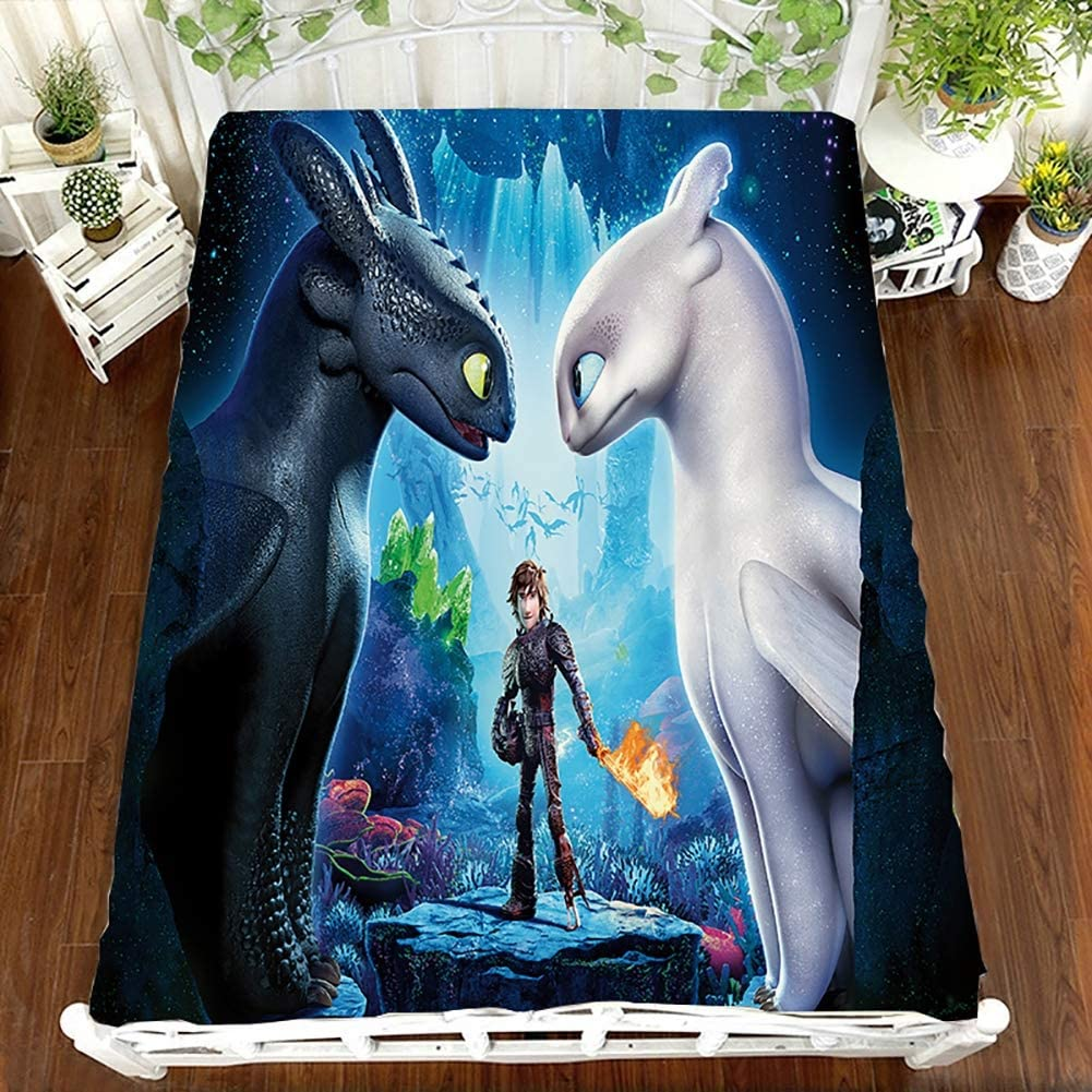 Double 3D Easy Care Flat Sheets How to Train Your Dragon Printed Bed Sheet Polyester Wrinkle Resistant King Size Bedding Single