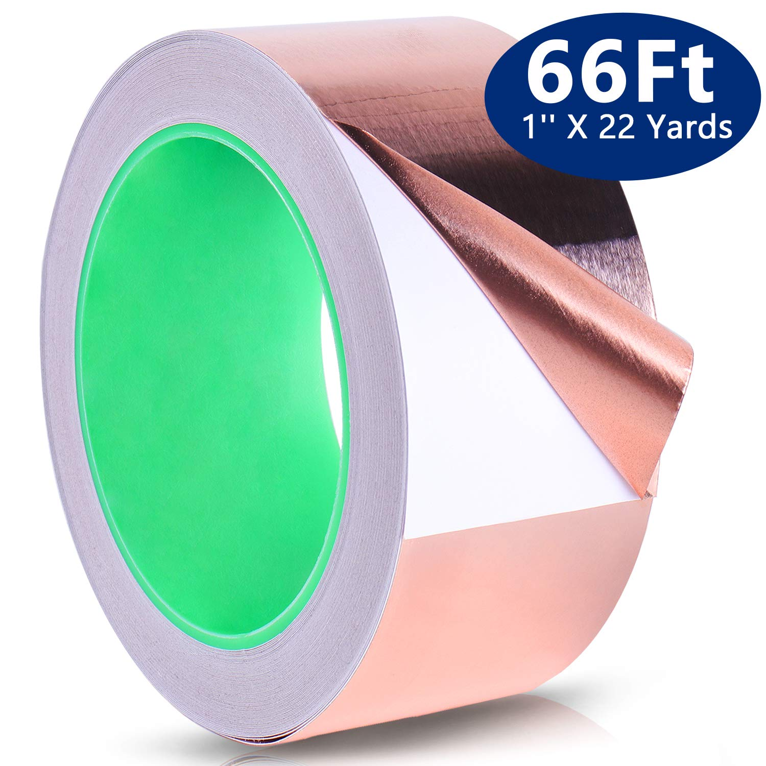 Copper Tape, PEMOTech 1'' X 21.8yard (25mm x 22m) Copper Foil Tape with Conductive Adhesive for Slug & Snail Repellent,Guitar & EMI Shielding,Stained Glass,Paper Circuits,Electrical Repairs,Grounding