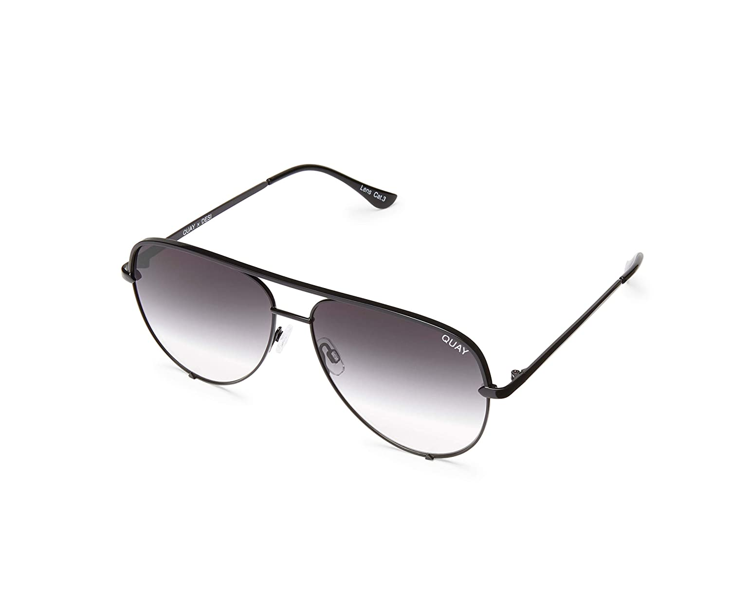 2627833edf20 Amazon.com  Quay Australia HIGH KEY Men s and Women s Sunglasses Classic  Oversized Aviator - Black Fade  Quay  Clothing