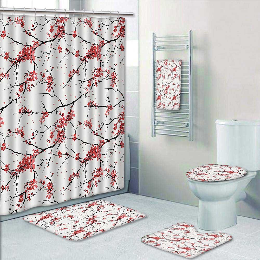 hot sale 2017 aolankaili 5-piece Bathroom Set-Includes Shower Curtain Liner,Of Sakura Branches Windy April Weather In Paining Style Art BlackPrint Bathroom Rugs Shower Curtain/Bath Towls Sets(Large size)