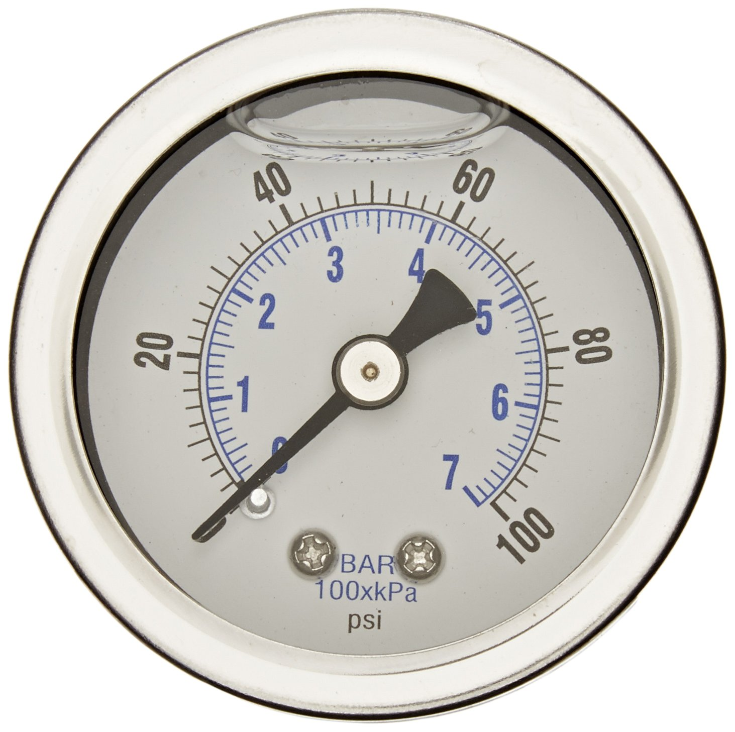 PIC Gauge 202L 158E 1.5 Dial 0 100 psi Range 1 8 Male NPT Connection Size Center Back Mount Glycerine Filled Pressure Gauge with a Stainless Steel Case Brass Internals Stainless Steel Bezel and Polycarbonate Lens