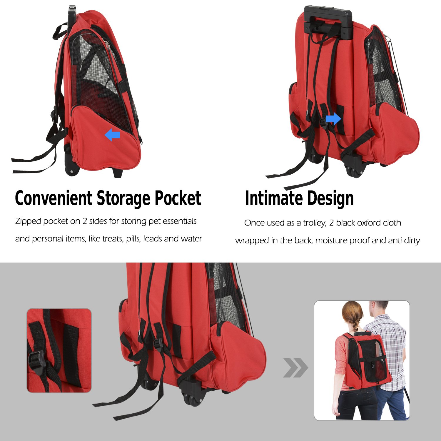 4c20282320cd Pawhut Pet Travel Backpack Bag Cat Puppy Dog Carrier w Trolley and  Telescopic Handle Portable Stroller Wheel Luggage Bag (Red)  Amazon.co.uk   Pet Supplies