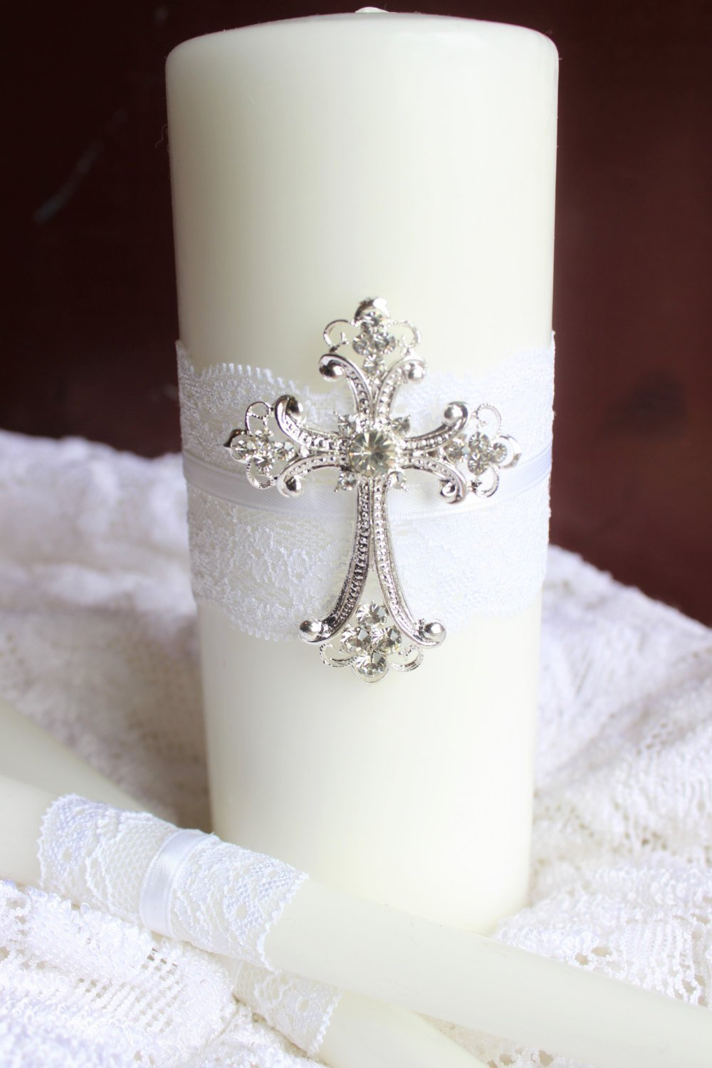 Silver Cross Wedding Unity Candles - White OR Ivory Candle Set for Church Wedding