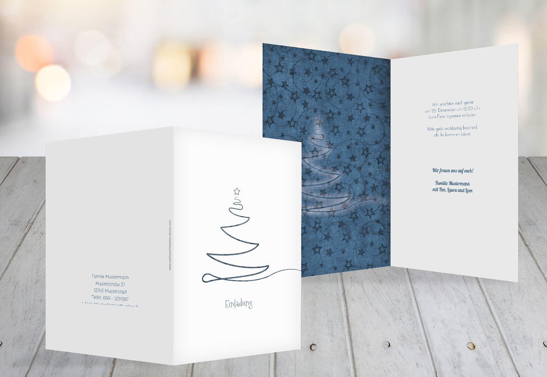 Kartenparadies Einladungskarte zu Weihnachten Einladung Linienbaum, hochwertige Weihnachtseinladung zum Selbstgestalten (Format  105x148 mm) Farbe  MattBlauDunkler B01N21V993 | Einfach zu bedienen  | Günstige Bestellung  | Ab dem neuesten Modell