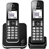 Panasonic KX-TGD312EB Cordless Home Phone with Nuisance Call Blocker and LCD Display - Black/Silver, Pack of 2