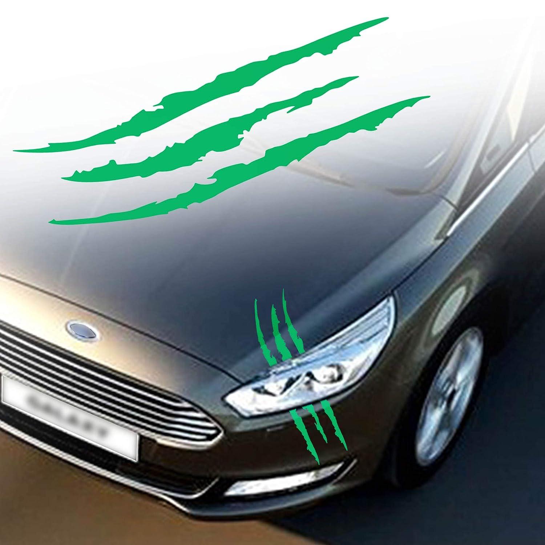 TOMALL 2 Pcs Claw Marks Headlight Reflective Sticker Waterproof Scratch Car Sticker Scratch Stripe Decal Car Sticker for Car Headlamp Engine Gradient