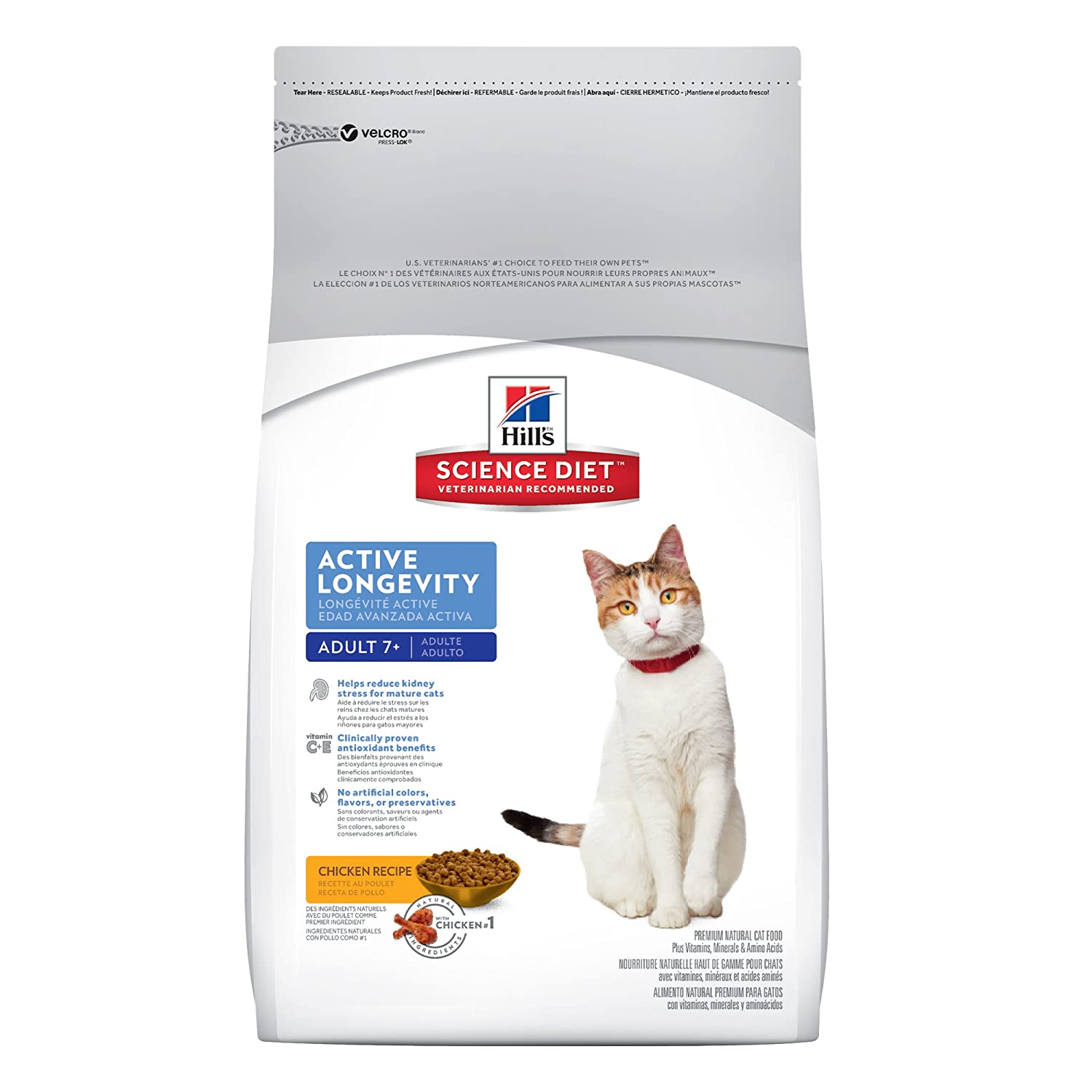 Amazon.com : Hills Science Diet Mature Adult Active Longevity Original Dry Cat Food, 17.5-Pound Bag : Dry Pet Food : Pet Supplies
