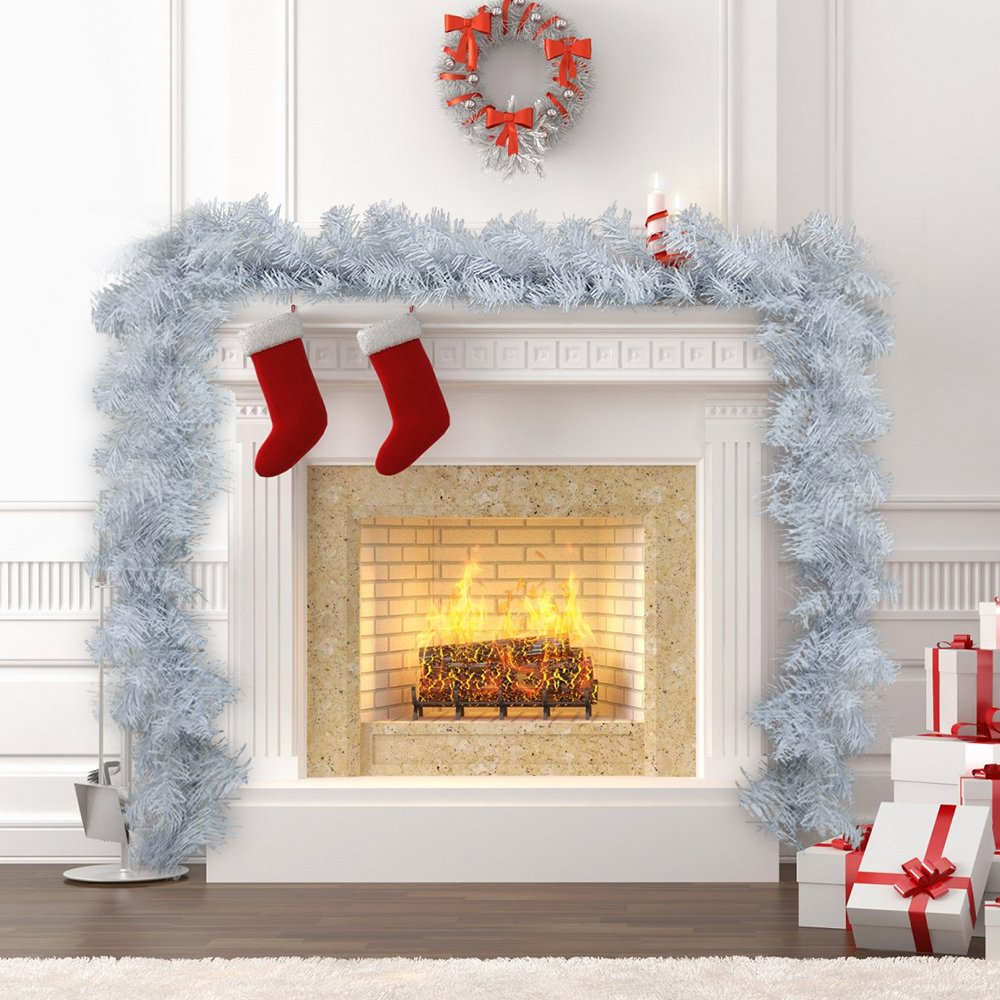 1pack White Christmas Garlands 270cm Artificial Wreath Fireplace Stair Xmas Tree Decoration (9ft) Librao