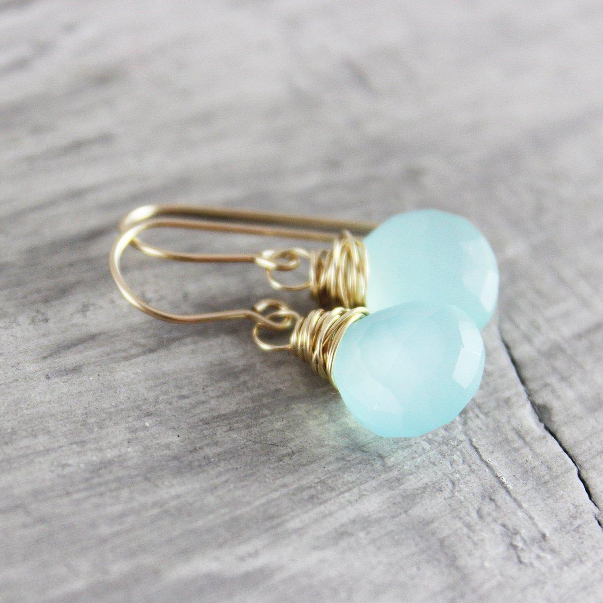 Aqua Gemstone 14kt Gold Filled Earrings