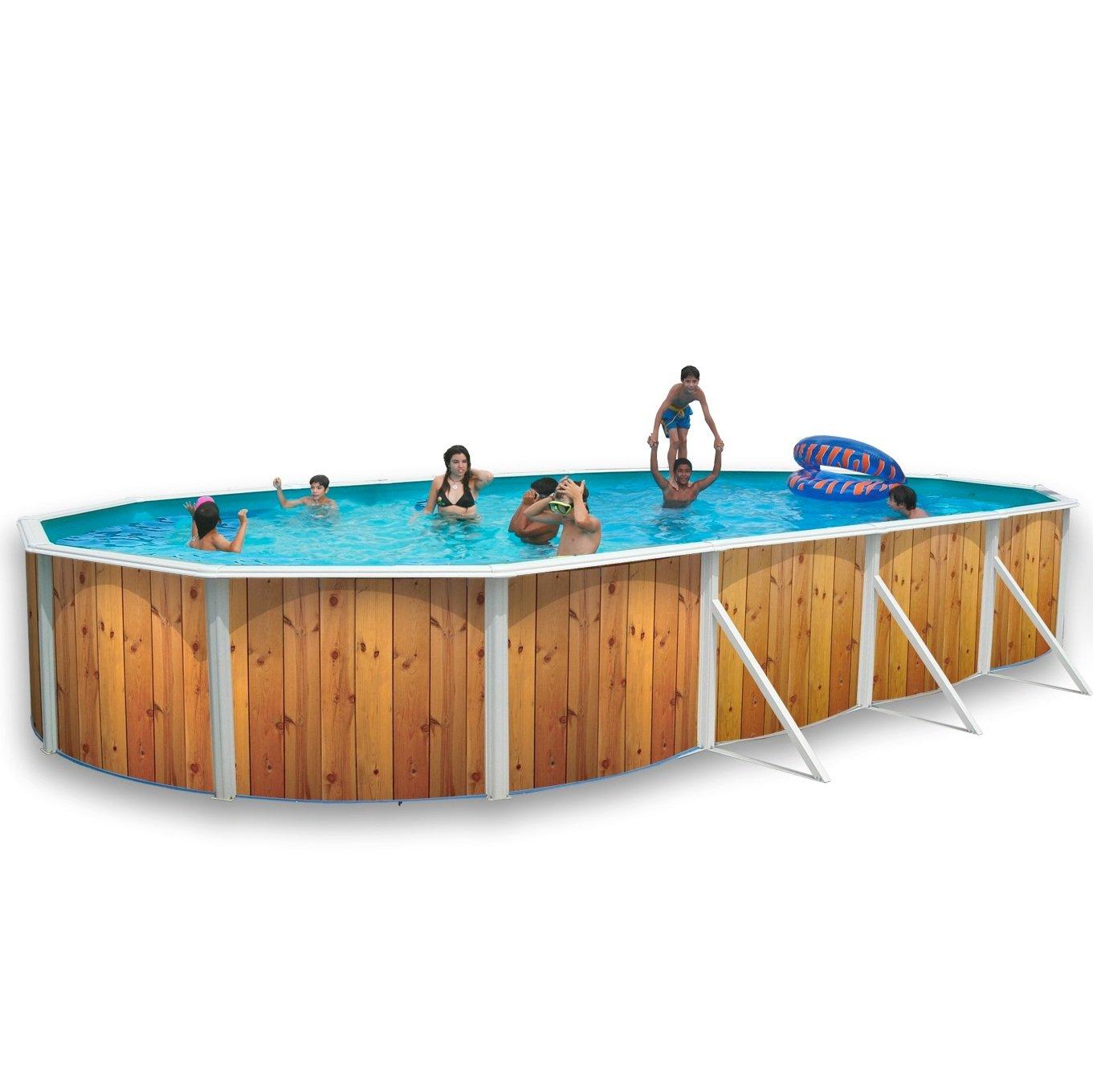 Weiß Coral Holz Effekt Oval Edelstahl Pool 9,15 m x 4,57 m: Amazon ...