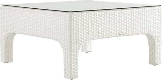 Mesa baja aluminio y resina trenzada blanca: Amazon.es: Jardín