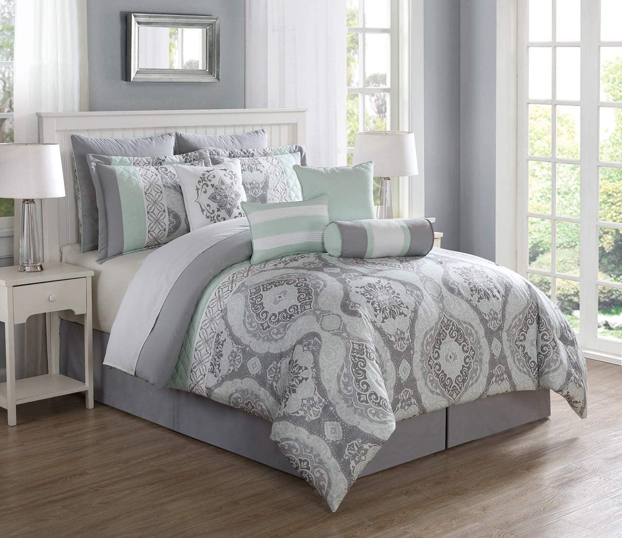 S.L. Home Fashion 10 Piece Bianca Mint/Gray Comforter Set King