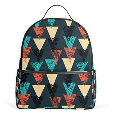 93e7b5754d Image Unavailable. Image not available for. Color  LORVIES Hand Painted  Bold Pattern With Triangles School Backpack Lightweight Canvas Book Bag for  boys ...