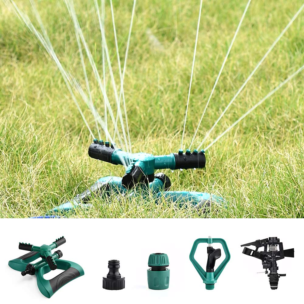 GANCHUN Lawn Sprinkler, Automatic 360 Rotating Adjustable Garden Water Sprinklers with 3 Sprinkler Heads and 3 Hose Connectors for Lawn Garden Agriculture Yard and Outdoor Cooling