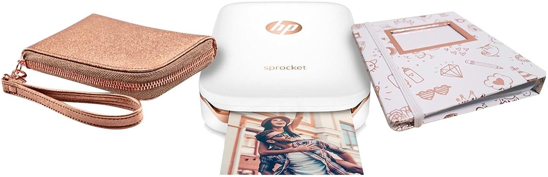 HP Sprocket Mobiler Fotodrucker (Drucken ohne Tinte, Bluetooth, 5 x 7,6 cm Ausdrucke) weiß + 2x HP Zink Fotopapier (20 Blatt)