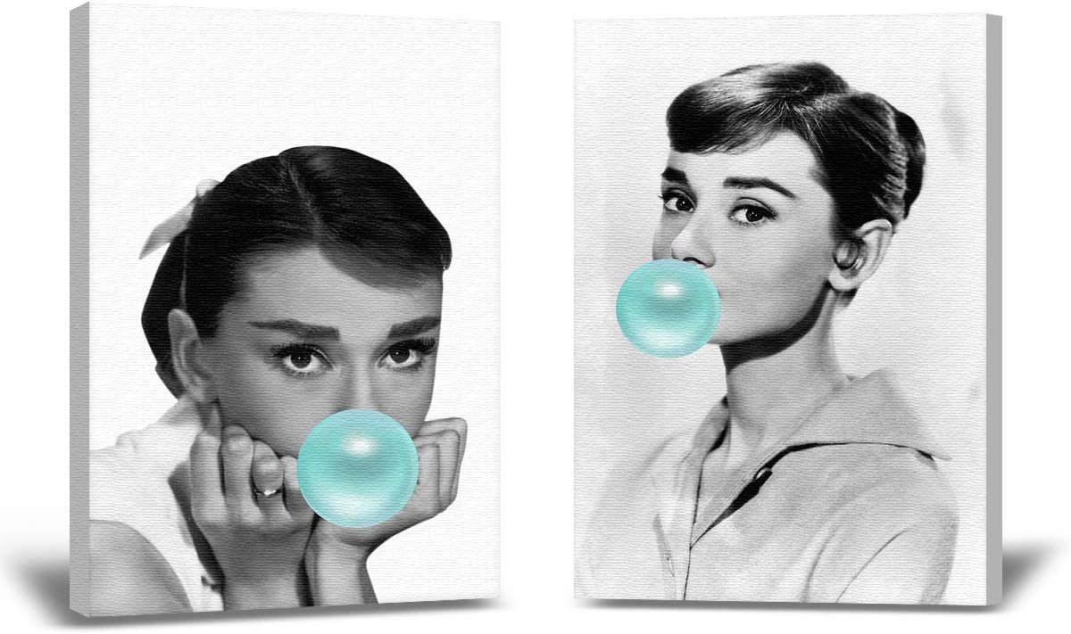 Christmas Sweater for women Audrey Hepburn Fan Gift Blue Bubble Gum Wall Art Poster Audrey Home Office Decor Collection Stretched Canvas Set of 2 Bubble Gum Wall Art Design White 8x12