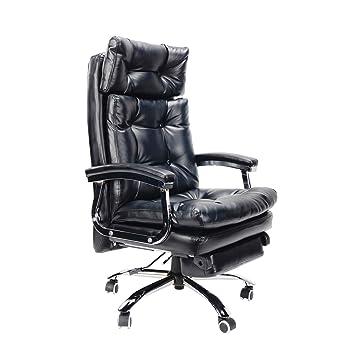 Silla giratoria de oficina, poliuretano de doble capa, silla de ejecutivo, reclinable,