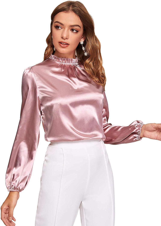 DIDK - Blusa para mujer, de satén, de manga larga, cuello alto, para oficina: Amazon.es: Ropa y accesorios