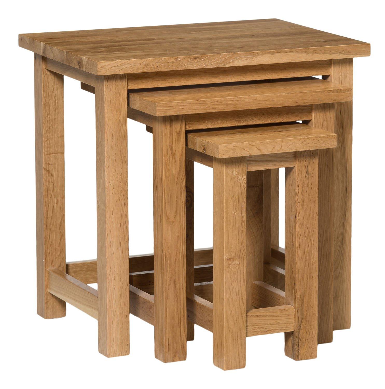 Very best Waverly Oak Nest of Tables in Light Oak Finish | Solid Wooden Side  HR44