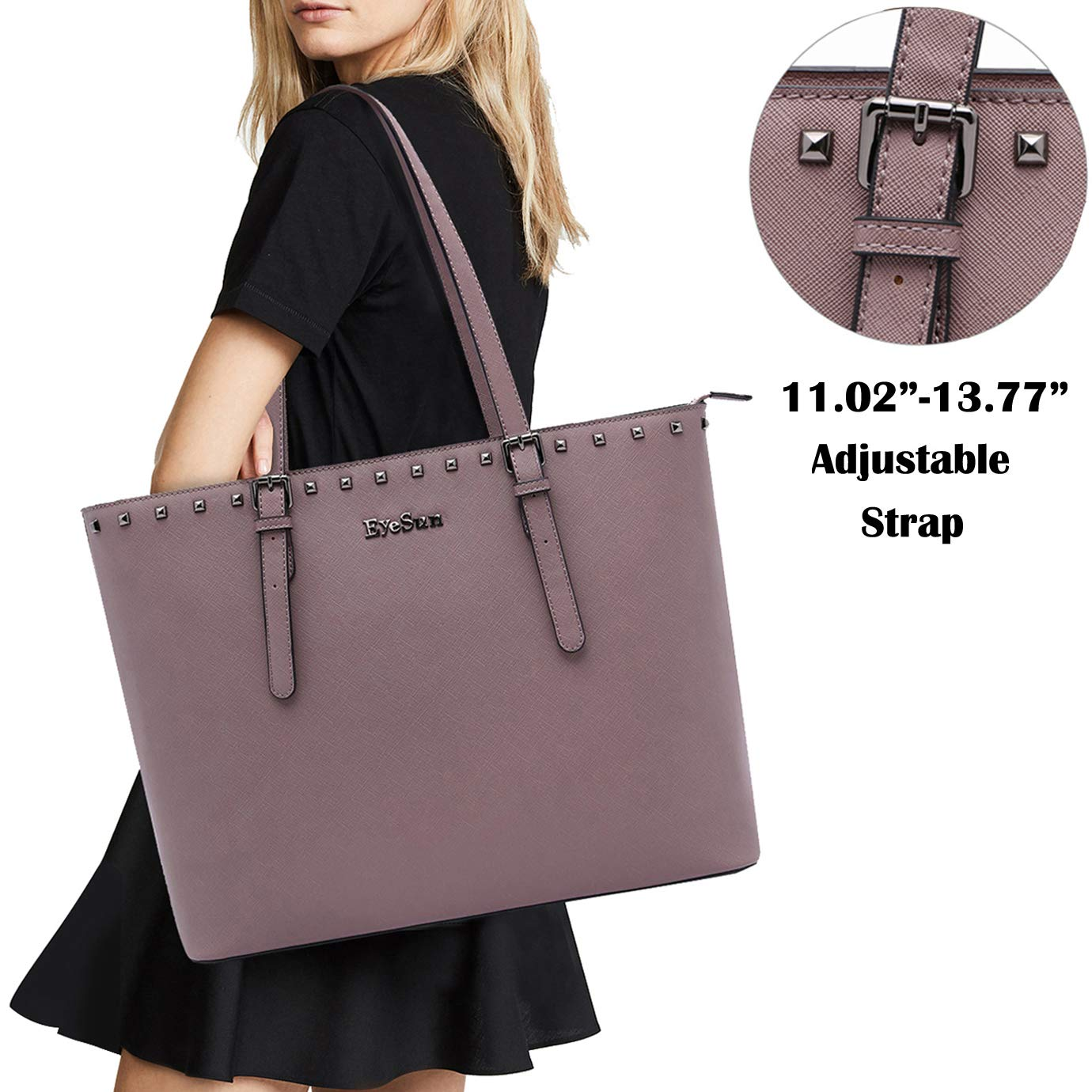 Laptop Bag for Women,15.6 Inch Laptop Tote Bag Office Briefcase with Adjustable Strap and Rivets(2013-purple) by EyeSun (Image #5)