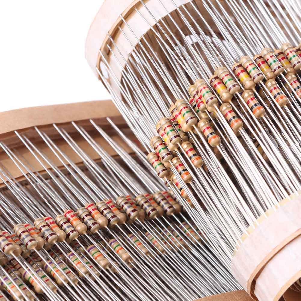 Mallofusa 1//4 Resistor Kit 135 Values x 10Pcs=1350Pcs Metal Film Resistors Assortments