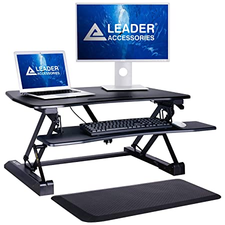 Leader Accessories Standing Desk – Comfort Anti Fatigue Mat Included – 36 Wide Tabletop Workstation fits Dual Monitor, Spacious Keyboard Tray, Height Adjustable Ergonomic Sit Stand Desk Converter