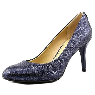 e838daca1868 Michael Kors MK-Flex Womens Navy Sparkle Metallic Leather Mid Heel Pumps  Size 8.5