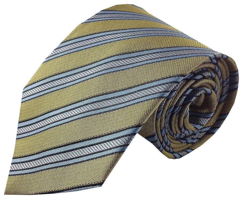 Oro Seda Corbata de Rayas de color azul y plata: Amazon.es: Ropa y ...