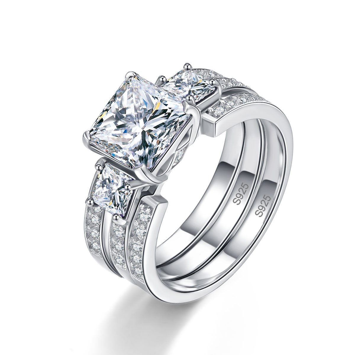 BONLAVIE Solid Sterling Silver Round & Princess Cut White CZ Eternity Wedding Ring Sets for Her Size 7