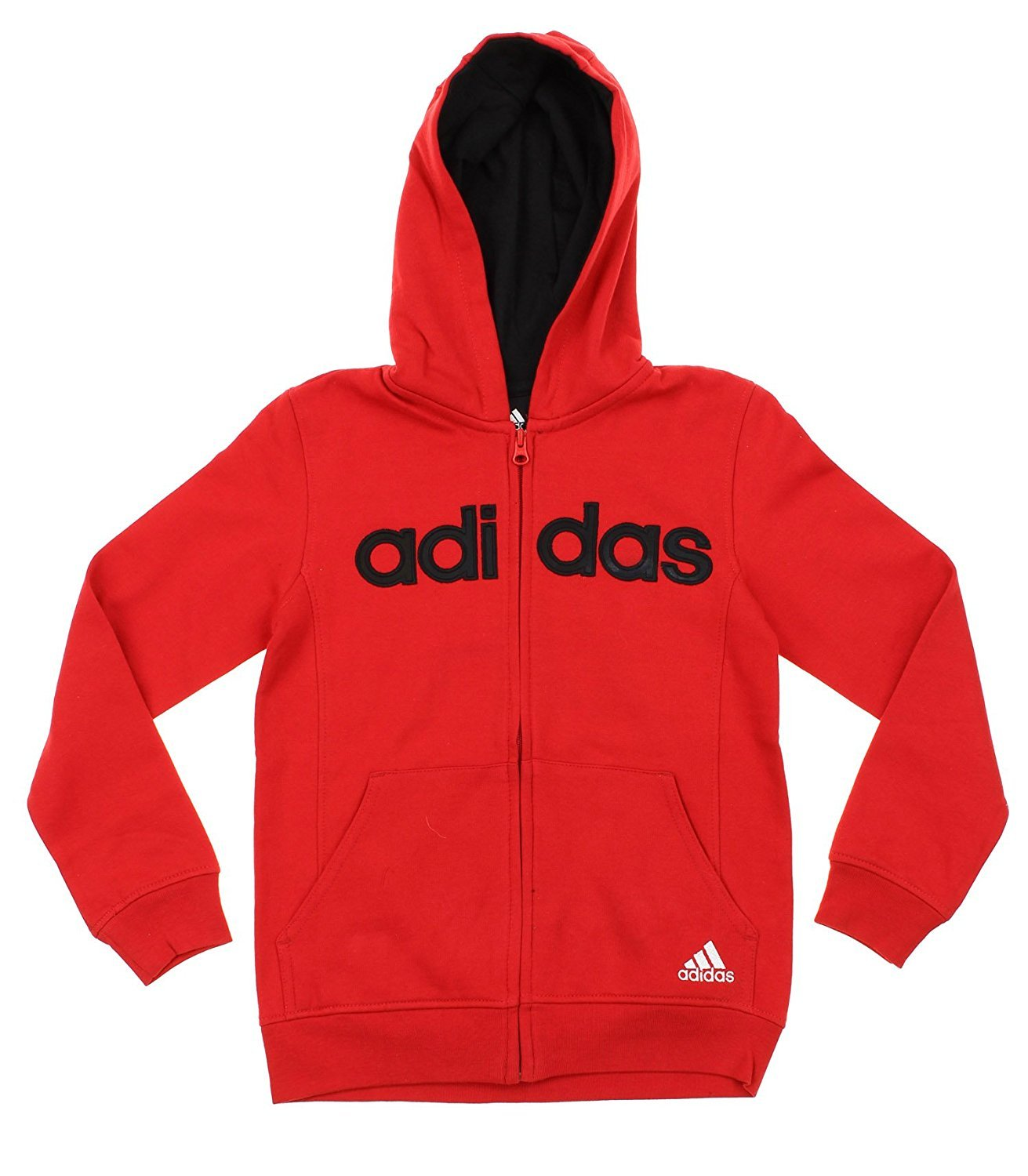 Adidas Big Boys Youth Uptempo Full Zip Fleece Hoodie, Color Options (X-Large (18), Red Black)
