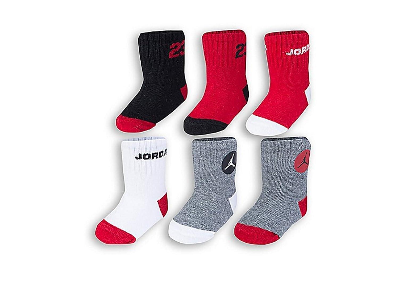 Nike 6-Pack Jordan Socks in Red//Grey 12-24 Months