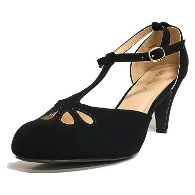 71917906b57f Chase   Chloe Kimmy-36 Women s Teardrop Cut Out T-Strap Mid Heel Dress