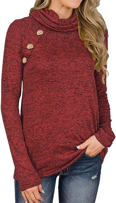 Ropa Camisetas Mujer,Botones de Diseño Blusa para Mujer ...