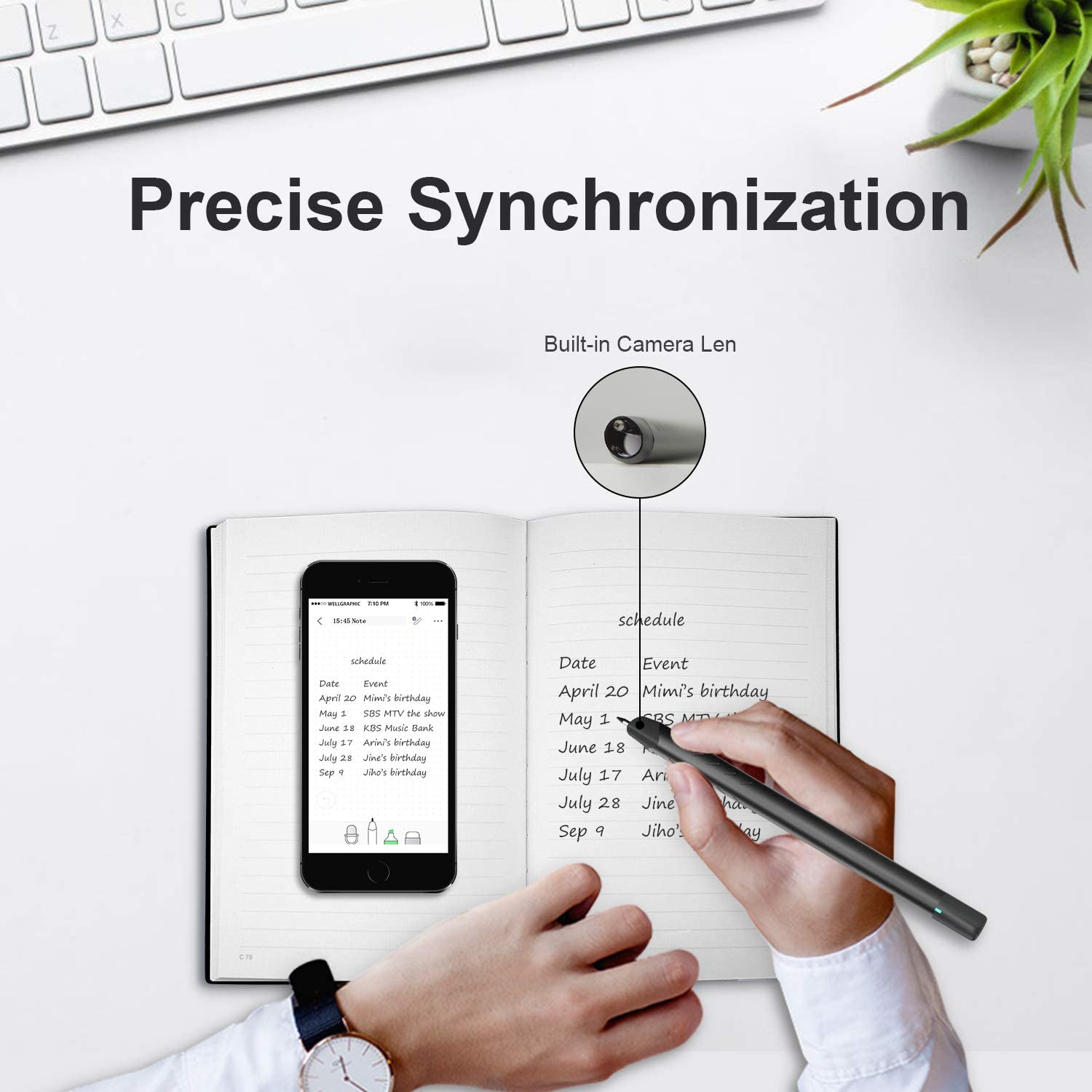 Syncpen 1.0 NEWYES Smartpen Sync to The Mobile Devices for Notes with APP ,Black