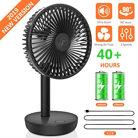 COMLIFE Portable Desk Fan with 90 Auto Oscillation, Rechargeable 4400mAh Battery Operated Fan with 3 Speed Levels, Ultra Quiet Personal Cooling Fan for Home, Office or Outdoor Use