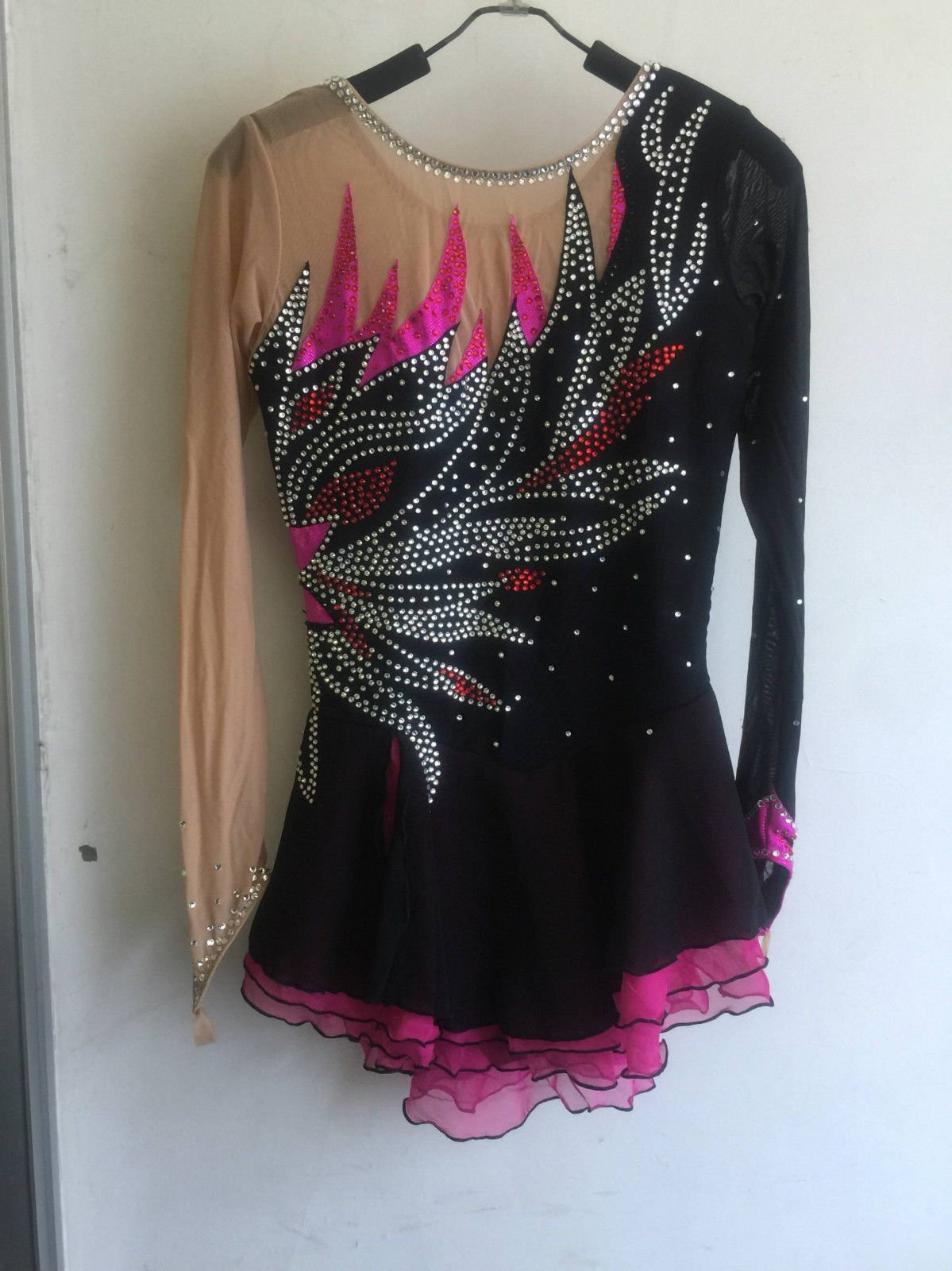 Pink Black Ice Skating Dress for Women Competition Skating Dresses for Girls Custom by YIKE