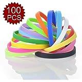 GOGO 100 Pcs Thin Silicone Wristbands, Rubber Bracelets, Party Favors