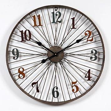 Foxom Reloj de Pared Vintage, 3D Reloj de Pared de Metal con Números Romanos, Diseño de la Rueda de Bicicleta, 60cm, Tipo 3: Amazon.es: Hogar